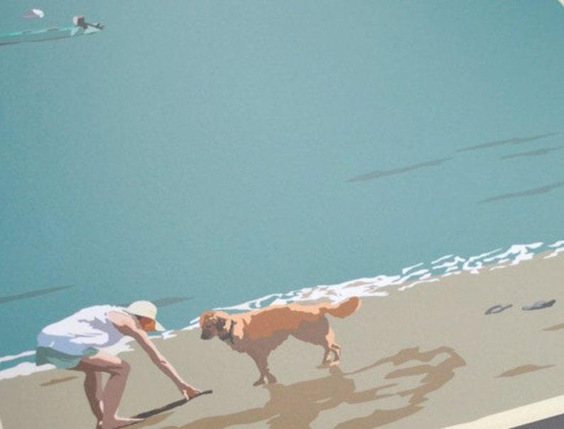 Go Fetch - Golden Retriever at Beach 8x10 print © Alan Claude