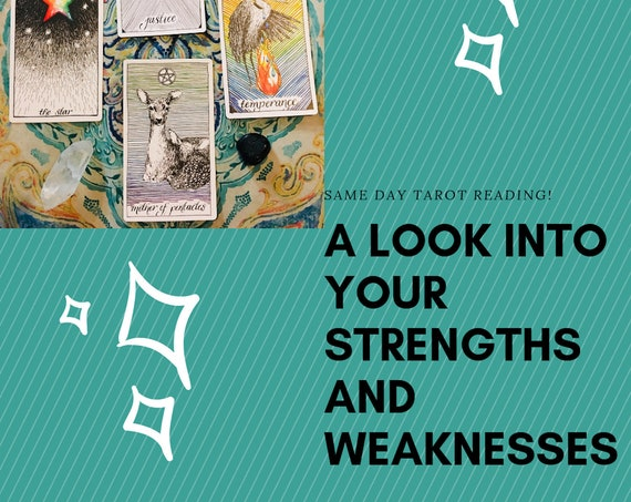 Strength and Weakness Tarot Reading, Same Day Reading, Psychic Same Day Tarot Reading + Oracle Card Pull for Further Guidance
