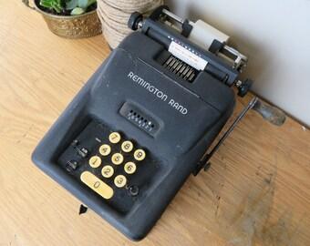 Vintage Black Remington Rand Manual Adding Machine