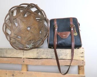 Authentic Vintage Dooney & Bourke Black Pebbled All Weather Leather Shoulder Bag with Brown Trim