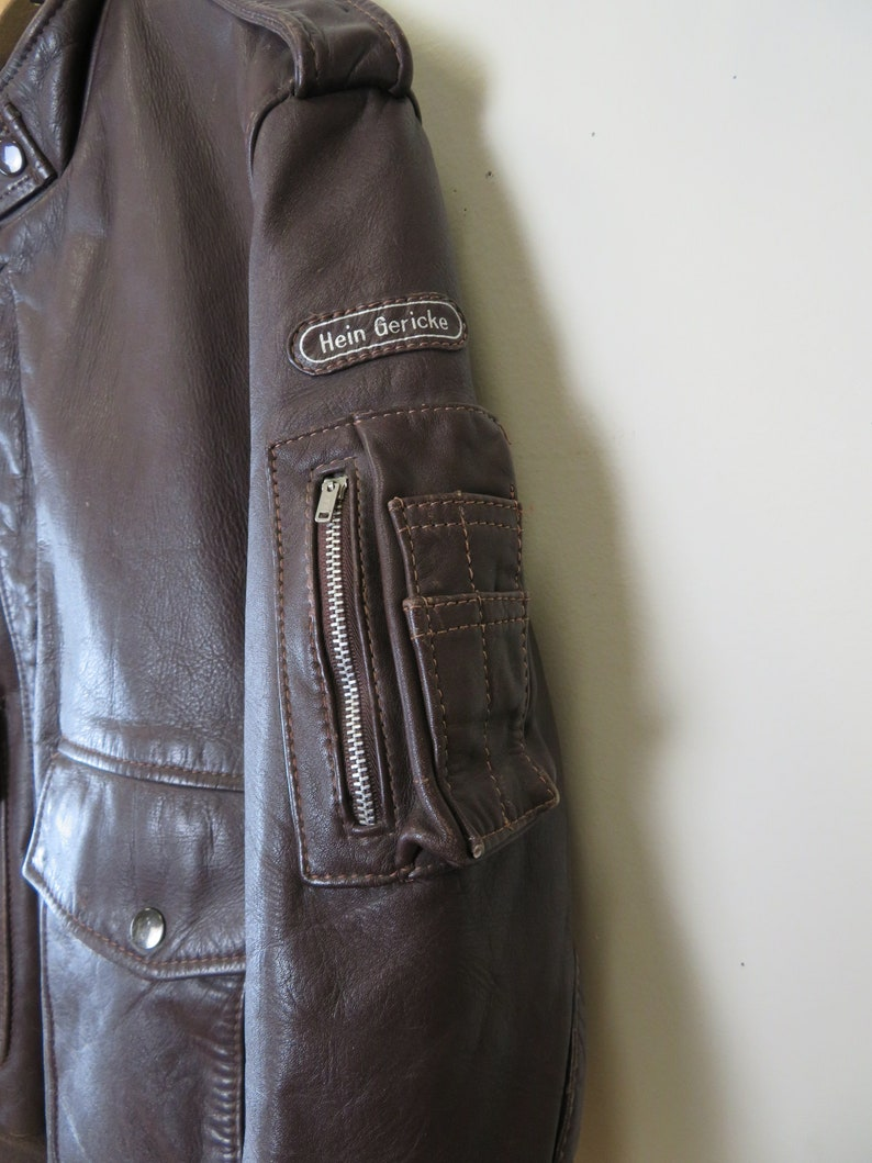 ca2b9a1b4 Vintage Hein Gericke Men's Brown Leather Motorcycle Jacket Size 46