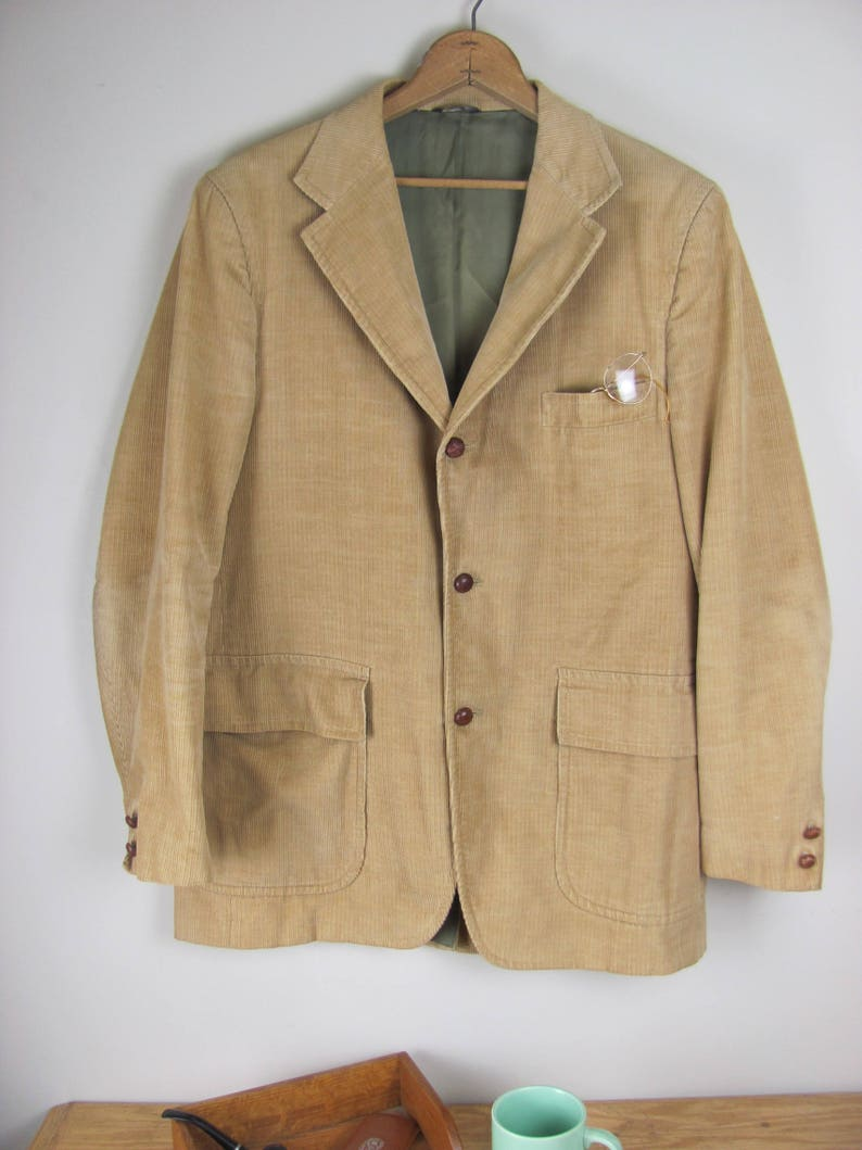 Vintage Young Man/'s Fancy San Francisco Camel Colored Corduroy Three Button Blazer Hipster Sports Coat