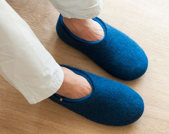 4f3381ea1 Blue house slippers, Mens Clogs, best mens slippers, boiled wool slippers,  breathable office slippers, ethical mens most comfortable shoes
