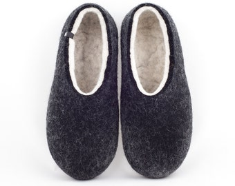 cb94b21ca Men's eco friendly felted slippers BLACK and natural organic white by  Wooppers woolen slippers. Warm and comfy house shoes eco gift for men