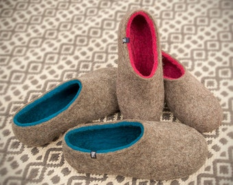 Organic House Slippers Felted Slippers For Men Natural Gray Etsy
