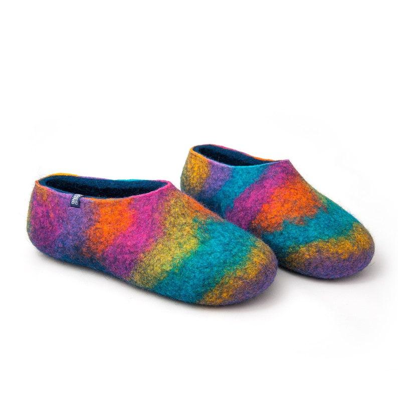 421604ecbd81 OOAK boho slippers rainbow shoes Womens felt slippers wool