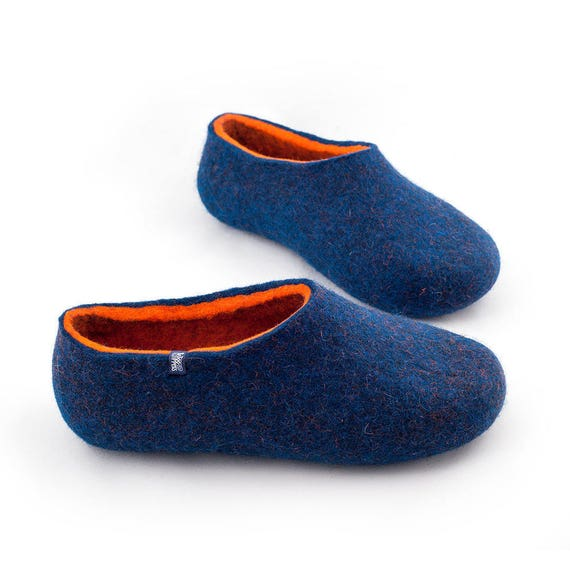 00b7b1b4b House Slippers for men Felted Slippers Blue Orange Sheep | Etsy