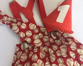 Sizes 6M to 24M - Diaper CoverBowtieSuspendersHat Birthday Outfit Ref107-B-Lightning McQueen Boys Cake Smash 1st