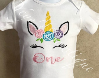 Unicorn Embroidered Birthday Onsie | Shirt | One Two Three Four Five | 1st 2nd 3rd 4th 5th | First Second Third Fourth Fifth