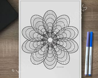 Zentangle Inspired Flower Coloring Page Adult Sheet Relaxation Art Therapy Instant Download PDF Printable Color