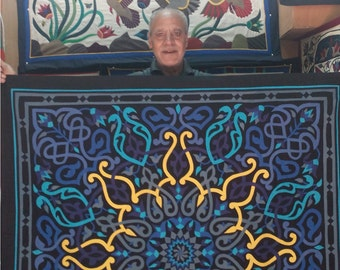 Uncle Ahmed Nageb, Just Gorgeous Blue Rome-Lotus design. This Masterpiece of hand-stitched applique Tentmakers of Cairo Art.