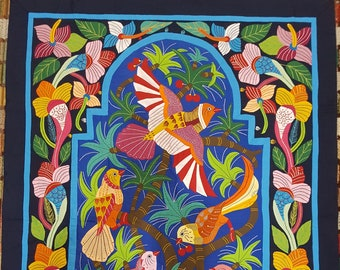 Amazing Floral Gate w Birds Design by Gamal Kolthoma, This exquisite piece in incredible Multi colors, Dark Background, Tentmakers of Cairo!