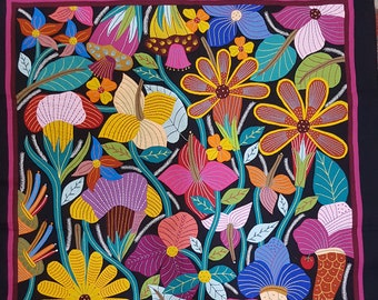 A Fantastic Floral piece by Gamal Kolthoma, This exquisite piece in incredible Multi colors, Dark Background, Tentmakers of Cairo!