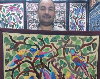 Tarek Al Safty, Amazing Birds design Multi Colors, Master piece by Tentmakers of Cairo.