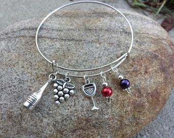 Wine Lover Adjustable Charm Bracelet