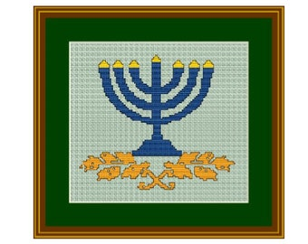 Hanukkah Menorah. Happy Hanukkah. Cross Stitch Pattern.  Instant download. PDF. Jewish Candle.