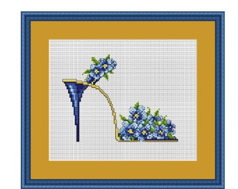 Flower Shoe Counted Cross Stitch Pattern. PDF Instant Download. Nature. Decor Pattern. Counted Cross Stitch Patterns.