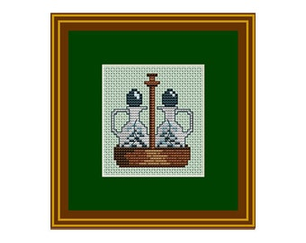 Sauce Bottles Counted Cross Stitch Pattern. PDF Instant Download. Kitchen Decor Pattern. Counted Cross Stitch Patterns.