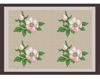 Apple Flower Counted Cross Stitch Pattern. Apple Blossom PDF Instant Download. Flower Pattern.