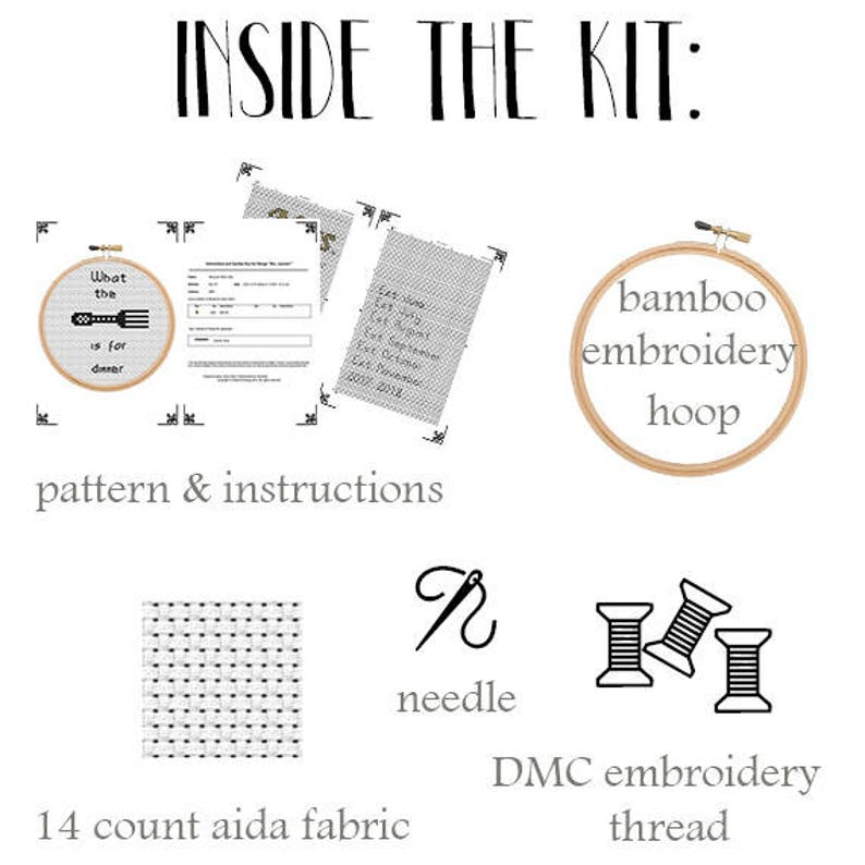 Gift Idea. Funny Kit.Beginner Cross Stitch Embroidery DIY Funny Cross Stitch Pattern What The Fork Is For Dinner Cross Stitch Kit