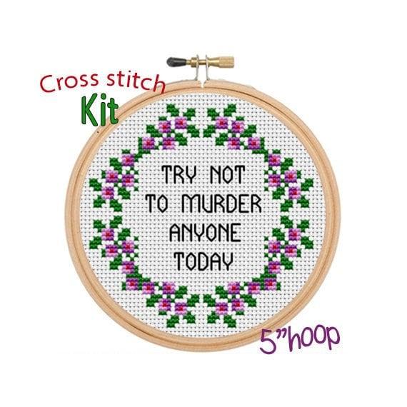 Modern Cross Stitch Pattern Funny Saying Cross Stitch Kit Quotes Funny Cross Stitch Kit. You/'re Weird I/'ll Keep You Cross Stitch Kit