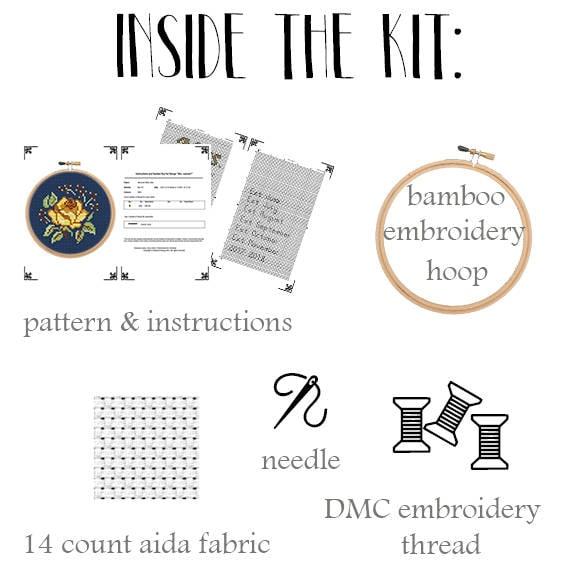 Embroidery Set Flowers Cross Stitch DIY Kit. Beginner Cross Stitch Cross Stitch Kit Retro Embroidery \u00a0Floral Pattern Rustic Rose Kit