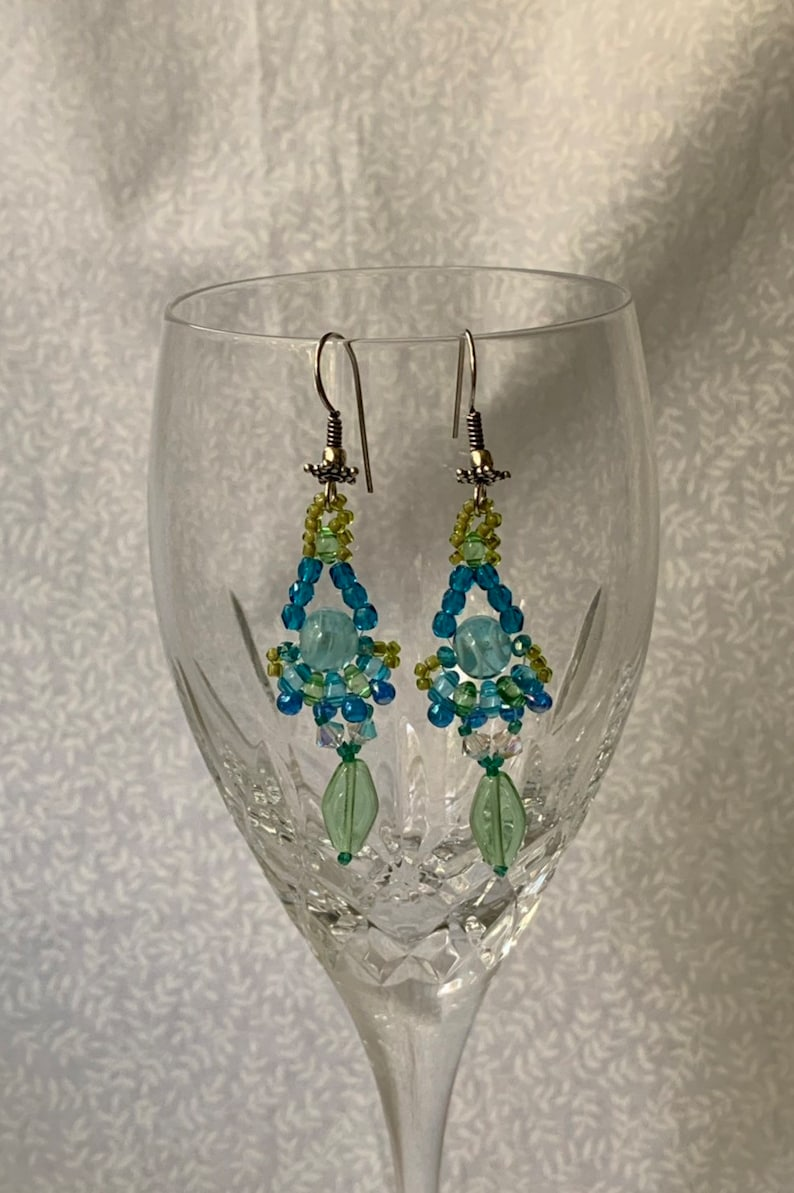 #127 Chandelier earrings in blue and green on sterling ear wires
