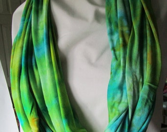 Infinity rayon jersey scarf ice dyed in shades of lime green and turquoise with orange accents  (# 31 )