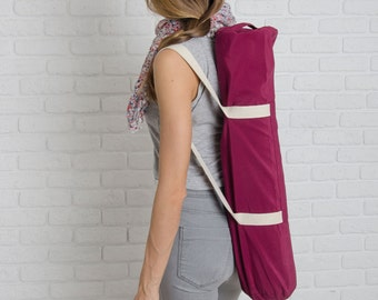 Yoga bag with zipper - Cherry Love Foyo | Yoga mat carrier | Free shipping| Keys Pocket | Pilates mat bag | Sport bag | Gift for girlfriend