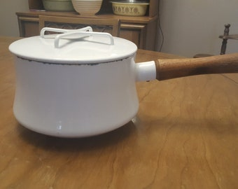 Vintage Dansk Kobenstyle Jens Quistgaard Medium White Enamel Saucepan with Wooden Handle and Lid made in France
