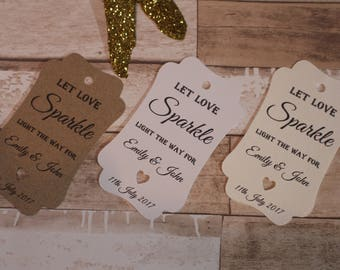 Personalised Rustic Wedding Favour Tags-Let love sparkle for wedding sparklers