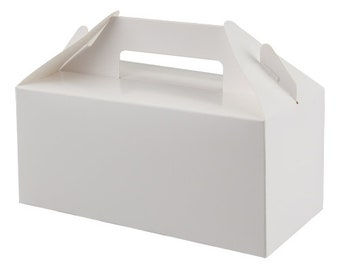 White  Gable Carry Pack, Party gift Boxes, Party Boxes for Children Kids Food, Easter, Halloween, Wedding, Birthday favour gift box