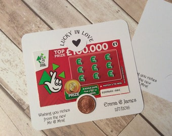 Personalised Wedding favour scratch card or lottery ticket holders- Postcard range penny wishing you riches