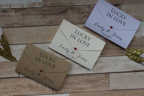 21  LUCKY IN LOVE LABELS FOR WEDDING FAVOUR SCRATCH CARDS LOTTERY TICKETS
