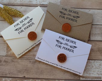 Personalised Wedding favour scratch card or lottery ticket holders-  Love letter range