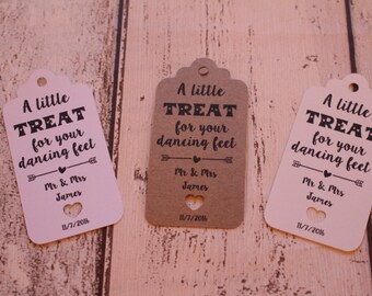Personalised Rustic Wedding Favour Tags- A little treat for your dancing feet
