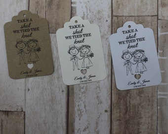 Personalised Wedding favour tags for miniature bottles-Take a shot...Cute couple