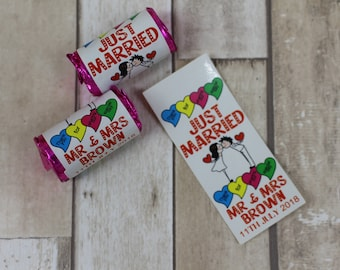 Personalised Wedding favour swizzels love heart sweets-JUST MARRIED