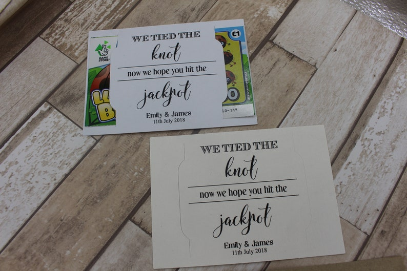 personalised wedding favour scratch card or lottery ticket