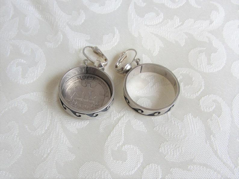 Handmade Southwestern Sterling Silver Overlay Native American Wave or Living Water Large Hoop Earrings Signed by Maker