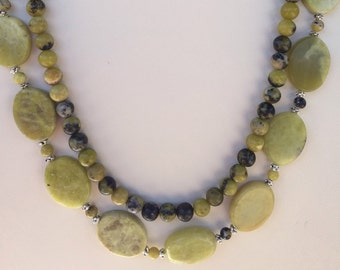 Yellow Turquoise Multistrand Necklace