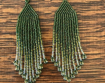 Olive Green and Gold Fringe Earrings