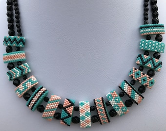 Seed Bead-Carrier Bead Multistrand Necklace