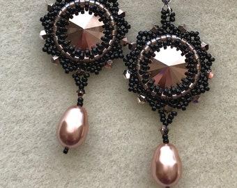Rose Gold and Black Swarovski Pearl Chandelier Earrings