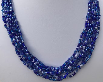 Blue Multistrand Seed Bead Necklace