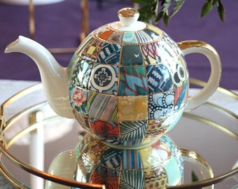 """Ceramic Teapot, Porcelain Tea Pot, Handmade Teapot, Porcelain teapot """"patchwork"""""""