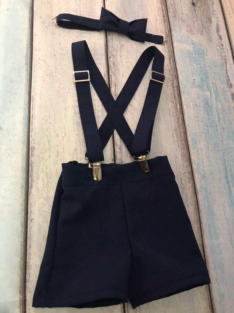 navy blue shorts with suspenders