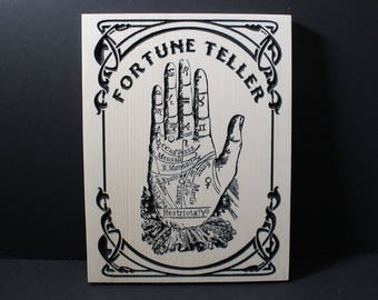 Fortune Teller Carved in Pine | Tarot Palmistry Psychic Witchcraft Crystal Ball Seer Necromancy Insight Art Nouveau