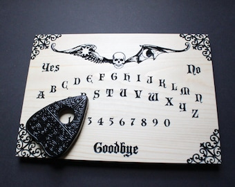 Madame Devallia's Spirit Board | Wooden Carved Ouija Board with Planchette | Witchcraft Pagan Occult Wicca Wiccan Seance Paranormal