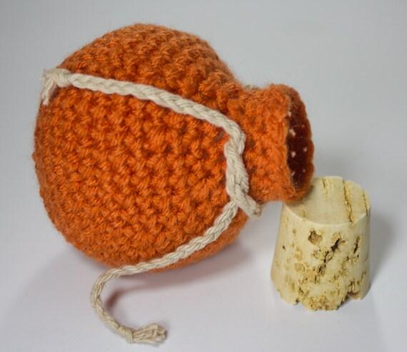 Gaming Dice Bag Crochet Orange Potion Bottle Nerd Geek Dice Bag